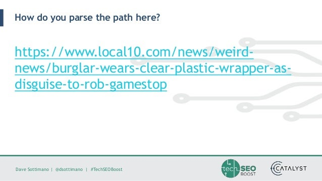 Dave Sottimano   @dsottimano   #TechSEOBoost How do you parse the path here? https://www.local10.com/news/weird- news/burg...