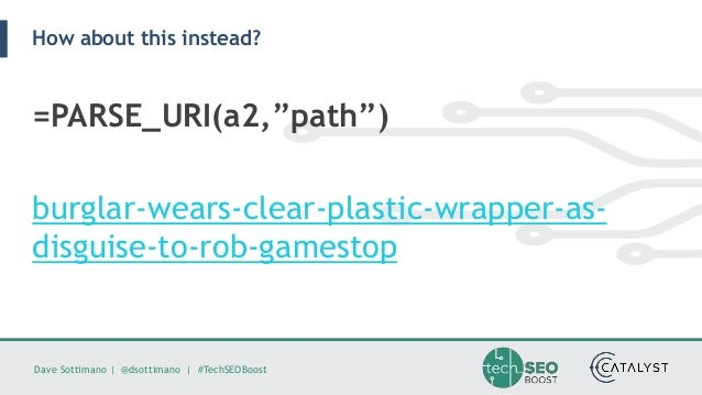 """Dave Sottimano   @dsottimano   #TechSEOBoost How about this instead? =PARSE_URI(a2,""""path"""") burglar-wears-clear-plastic-wra..."""
