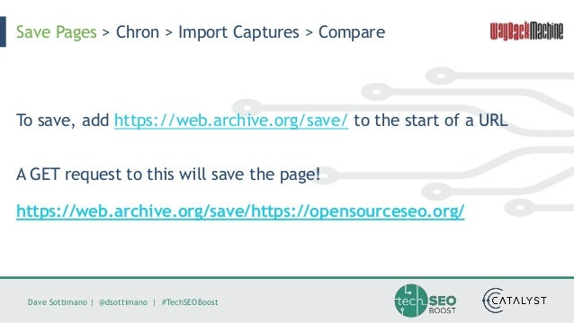 Dave Sottimano   @dsottimano   #TechSEOBoost To save, add https://web.archive.org/save/ to the start of a URL A GET reques...