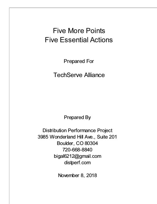 Five More Points Five Essential Actions Prepared For TechServe Alliance Prepared By Distribution Performance Project 3985 ...