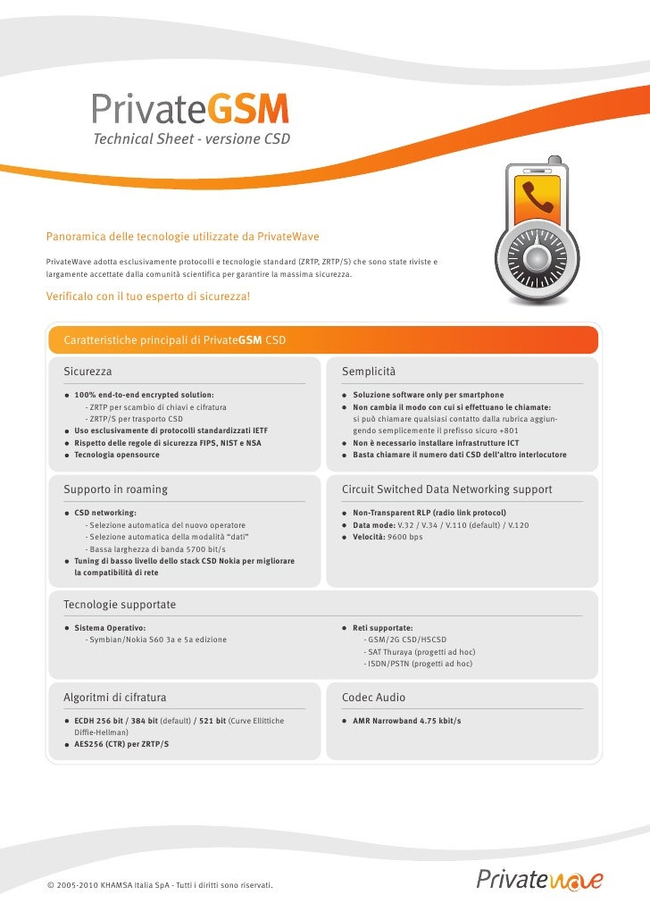 Technical Sheet - versione CSD     Panoramica delle tecnologie utilizzate da PrivateWave  PrivateWave adotta esclusivament...