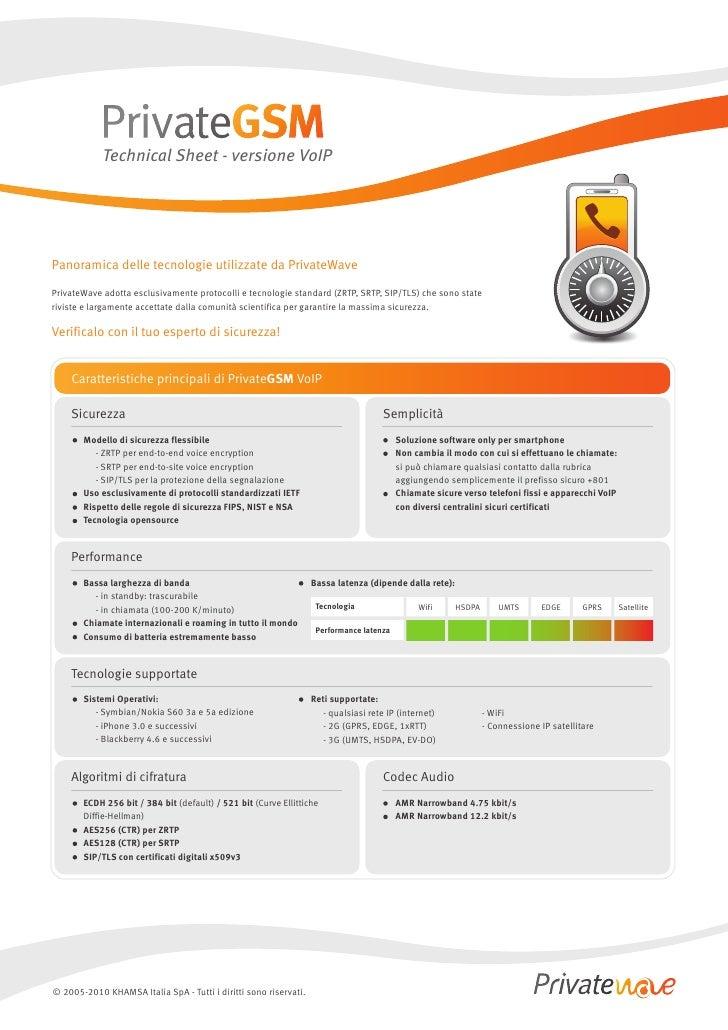 Technical Sheet - versione VoIP     Panoramica delle tecnologie utilizzate da PrivateWave  PrivateWave adotta esclusivamen...