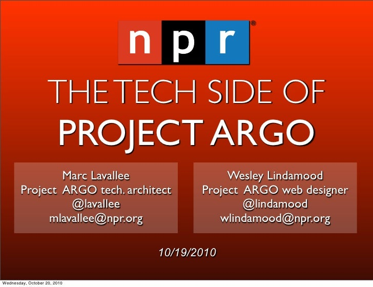 THE TECH SIDE OF                         PROJECT ARGO                 Marc Lavallee                Wesley Lindamood       ...