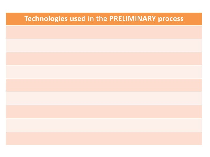 Technologies used in the PRELIMINARY process