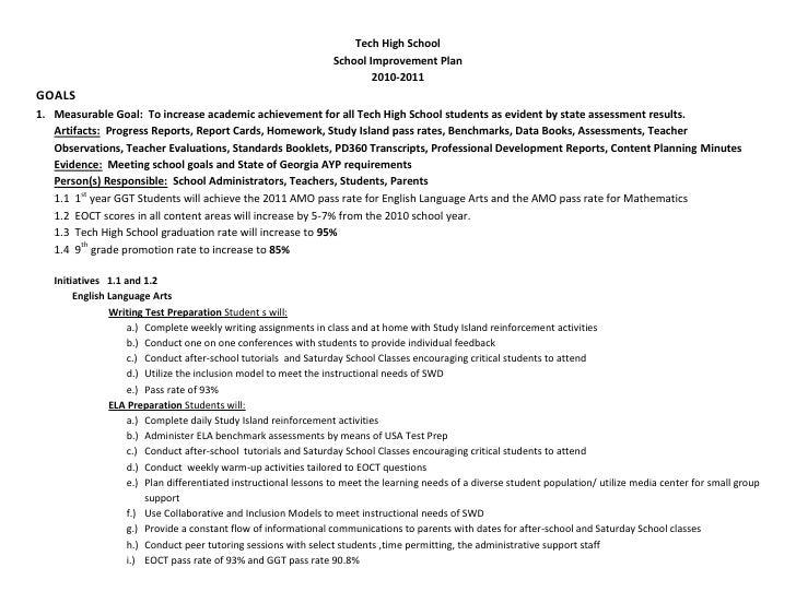 Tech High School                                                                 School Improvement Plan                  ...