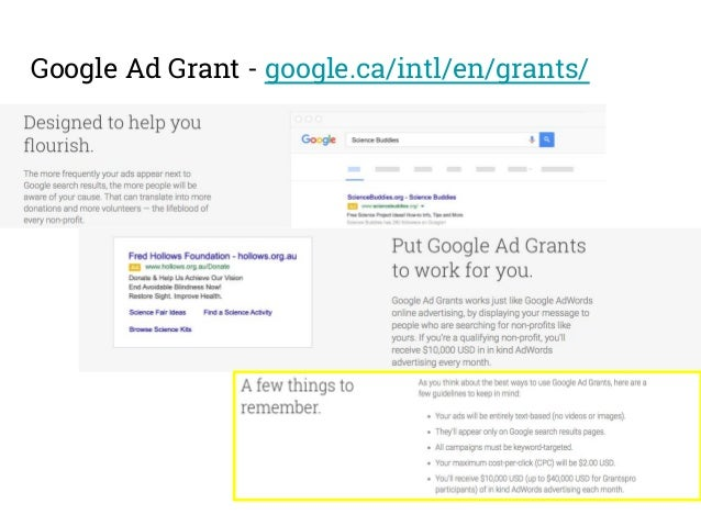 Google Ad Grantspro More at https://support.google.com/grants/answer/6022748?hl=en