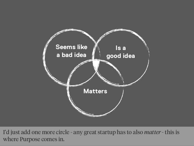 Seems like a bad idea Is a good idea Matters I'd just add one more circle - any great startup has to also matter - this is...