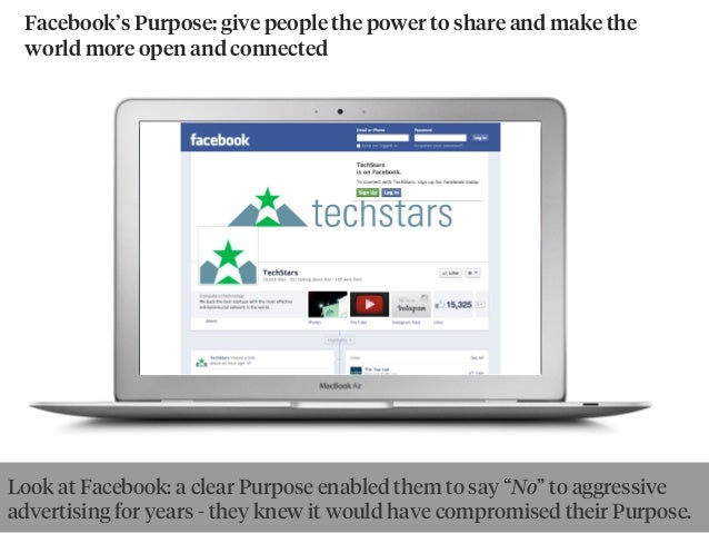 Facebook's Purpose: give people the power to share and make the world more open and connected Look at Facebook: a clear Pu...