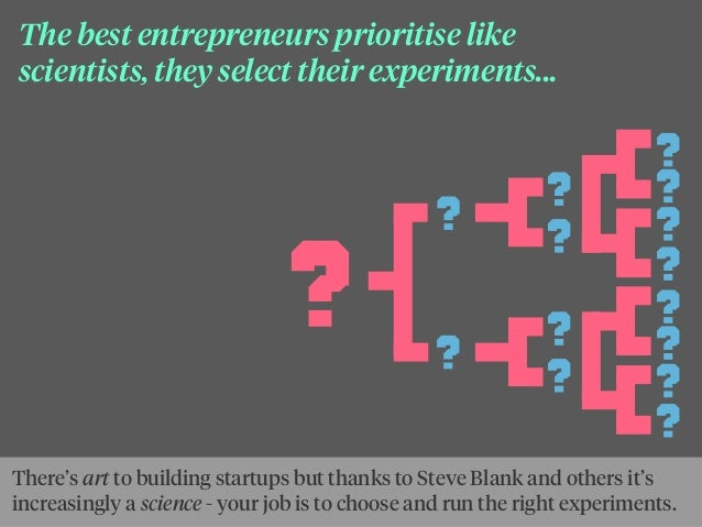 The best entrepreneurs prioritise like scientists, they select their experiments... There's art to building startups but t...