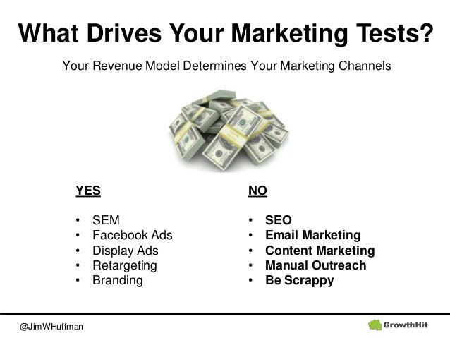 @JimWHuffman What Drives Your Marketing Tests? Your Revenue Model Determines Your Marketing Channels NO • SEO • Email Mark...