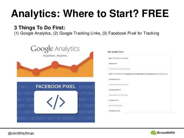 @JimWHuffman Analytics: Where to Start? FREE 3 Things To Do First: (1) Google Analytics, (2) Google Tracking Links, (3) Fa...