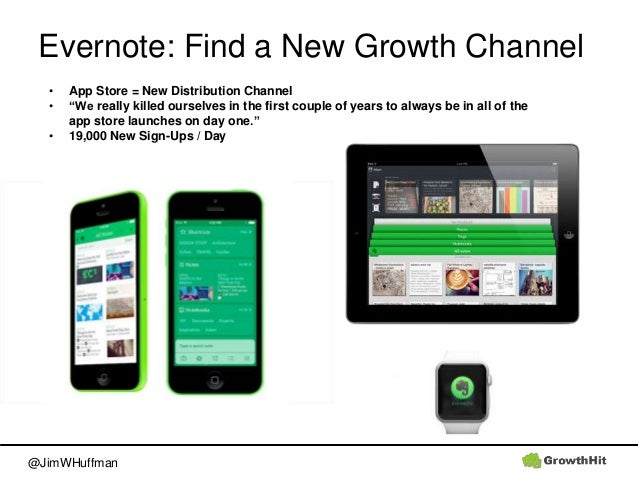 """@JimWHuffman Evernote: Find a New Growth Channel • App Store = New Distribution Channel • """"We really killed ourselves in t..."""
