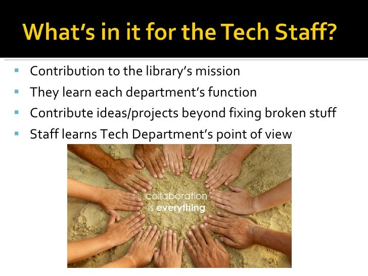 <ul><ul><li>Contribution to the library's mission </li></ul></ul><ul><ul><li>They learn each department's function </li></...