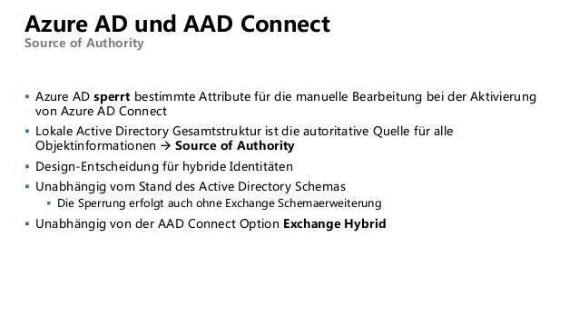 Azure AD und AAD Connect Source of Authority  Azure AD sperrt bestimmte Attribute für die manuelle Bearbeitung bei der Ak...