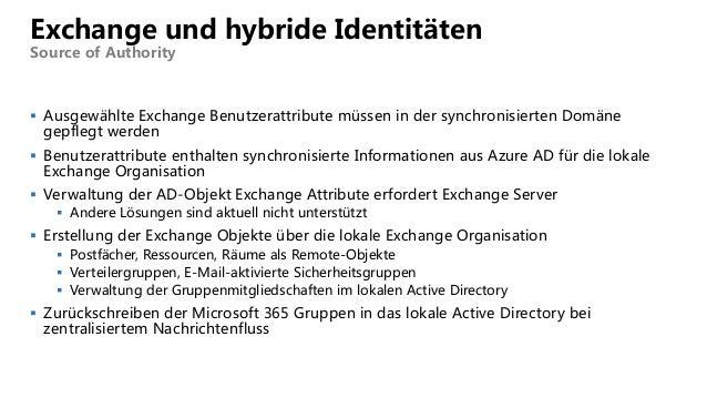 Exchange und hybride Identitäten Source of Authority  Ausgewählte Exchange Benutzerattribute müssen in der synchronisiert...