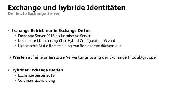 Exchange und hybride Identitäten Der letzte Exchange Server  Exchange Betrieb nur in Exchange Online  Exchange Server 20...