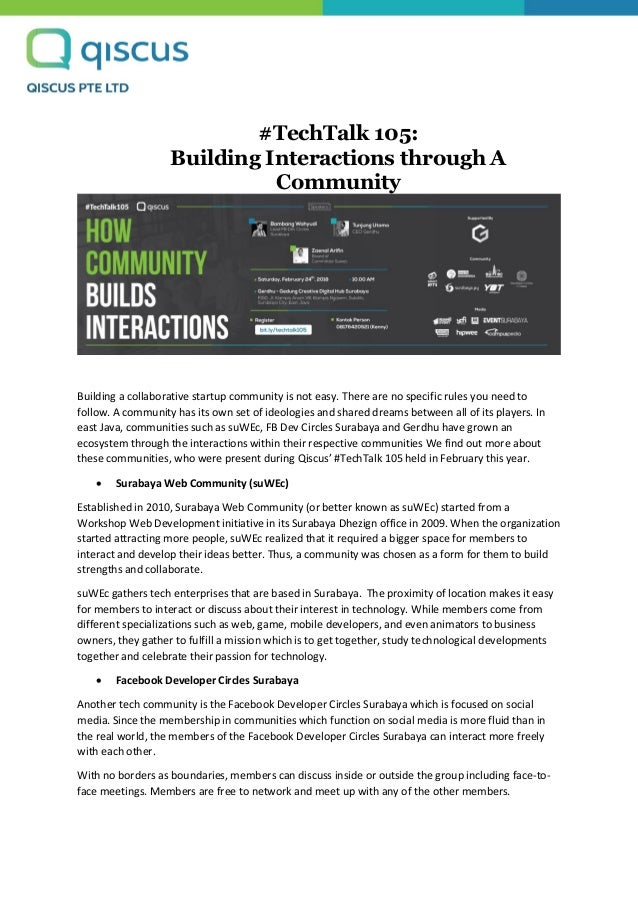 #TechTalk 105: Building Interactions through A Community Building a collaborative startup community is not easy. There are...
