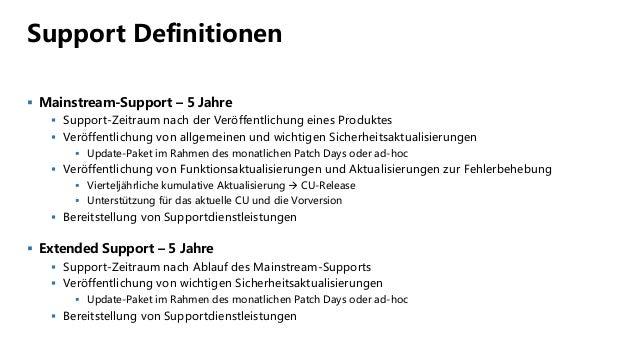 Support Definitionen  Mainstream-Support – 5 Jahre  Support-Zeitraum nach der Veröffentlichung eines Produktes  Veröffe...