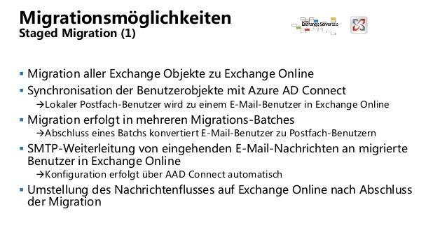 Migrationsmöglichkeiten Staged Migration (1)  Migration aller Exchange Objekte zu Exchange Online  Synchronisation der B...