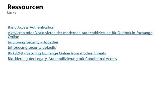 Basic Access Authentication Aktivieren oder Deaktivieren der modernen Authentifizierung für Outlook in Exchange Online Imp...