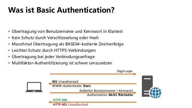 Was ist Basic Authentication?  Übertragung von Benutzername und Kennwort in Klartext  Kein Schutz durch Verschlüsselung ...