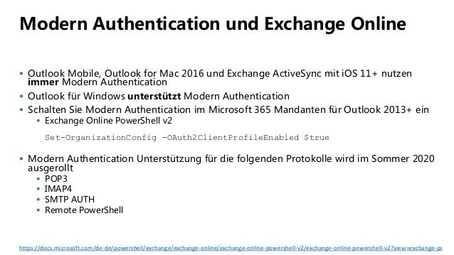 Modern Authentication und Exchange Online  Outlook Mobile, Outlook for Mac 2016 und Exchange ActiveSync mit iOS 11+ nutze...