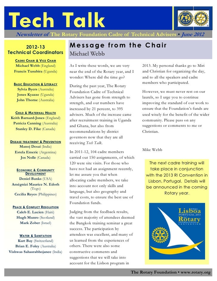Tech Talk    Newsletter of The Rotary Foundation Cadre of Technical Advisers • June 2012       2012-13                    ...