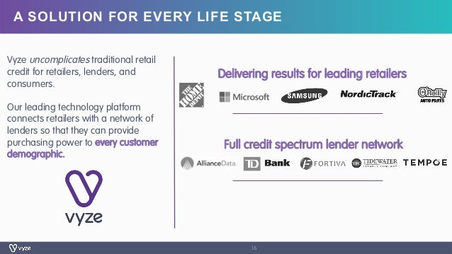 A SOLUTION FOR EVERY LIFE STAGE 16 Vyze uncomplicates traditional retail credit for retailers, lenders, and consumers. Our...