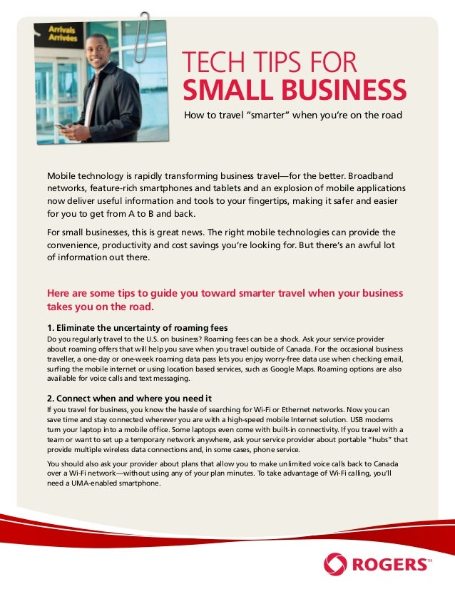 Tech Tips for                                         Small Business                                         How to travel...