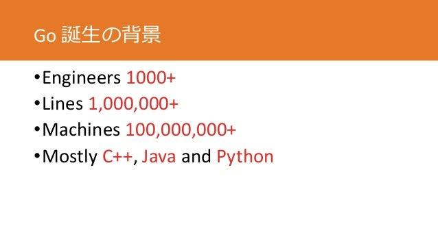 Go 誕生の背景 •Engineers 1000+ •Lines 1,000,000+ •Machines 100,000,000+ •Mostly C++, Java and Python