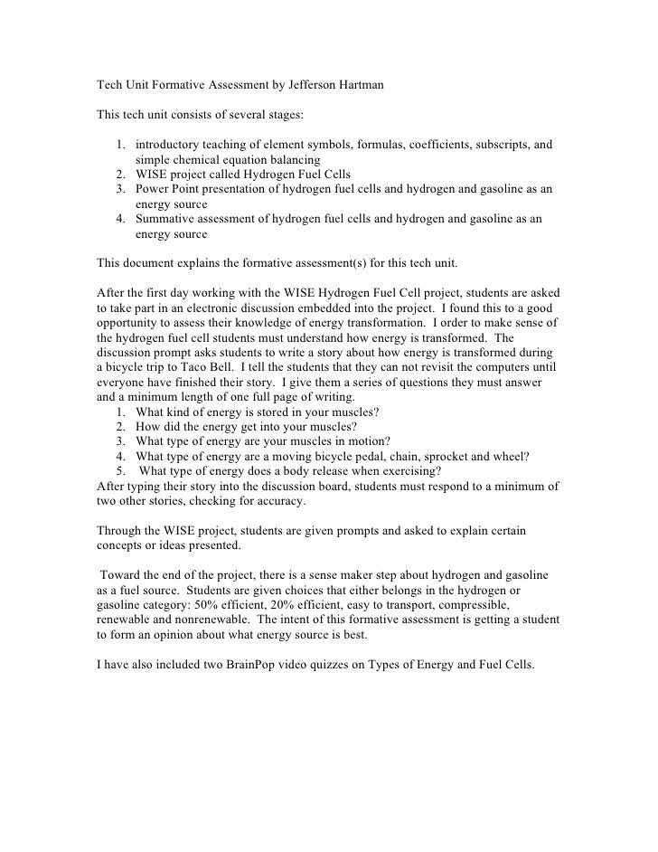 Tech Unit Formative Assessment by Jefferson Hartman  This tech unit consists of several stages:     1. introductory teachi...