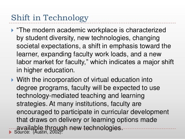 """Shift in Technology """"The modern academic workplace is characterizedby student diversity, new technologies, changingsociet..."""