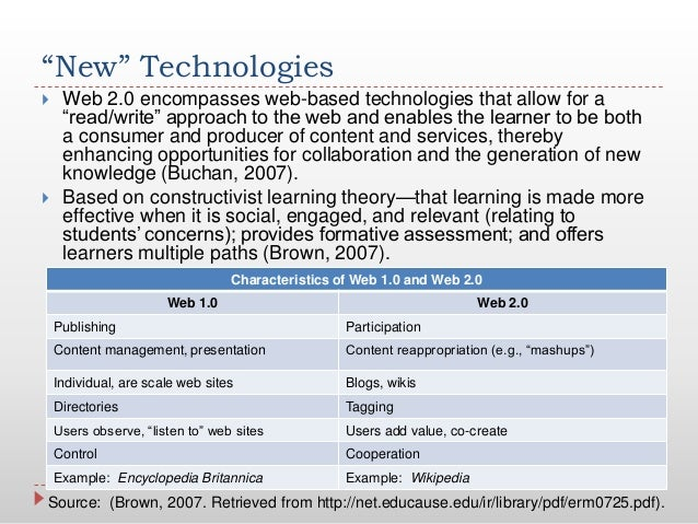 """""""New"""" Technologies Web 2.0 encompasses web-based technologies that allow for a""""read/write"""" approach to the web and enable..."""