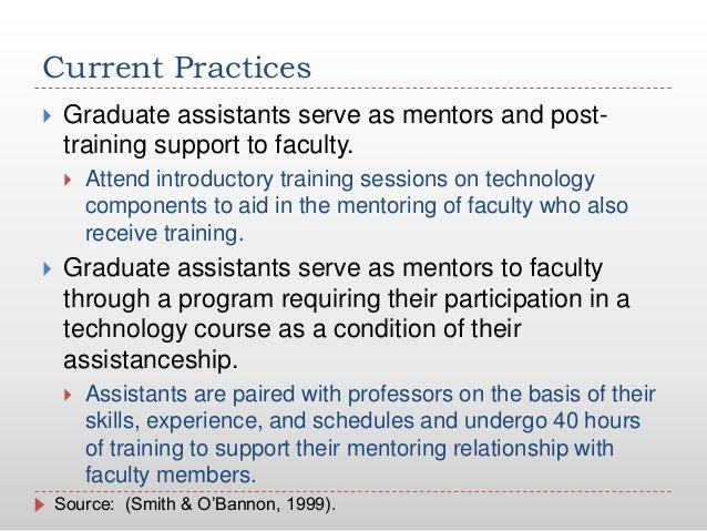 Current Practices Graduate assistants serve as mentors and post-training support to faculty. Attend introductory trainin...