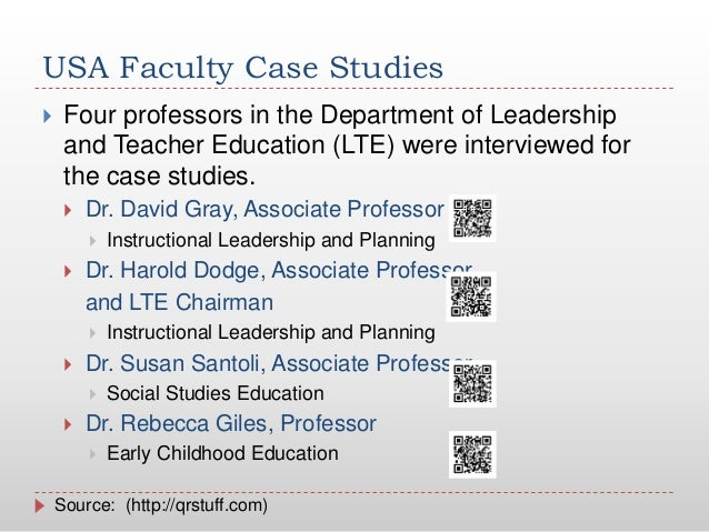 USA Faculty Case Studies Four professors in the Department of Leadershipand Teacher Education (LTE) were interviewed fort...