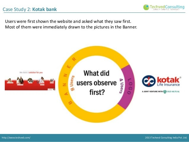 Case Study 2: Kotak bank Users were first shown the website and asked what they saw first. Most of them were immediately d...