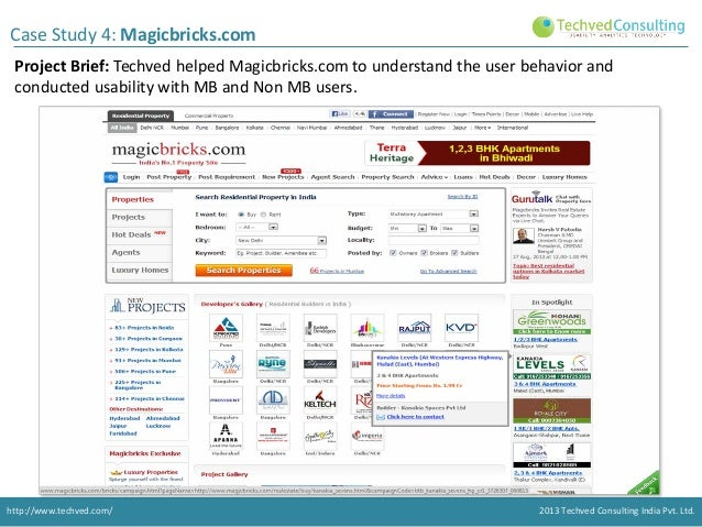 Case Study 4: Magicbricks.com Project Brief: Techved helped Magicbricks.com to understand the user behavior and conducted ...