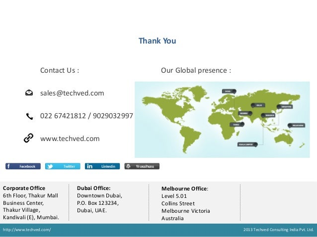 Thank You Contact Us :  Our Global presence :  sales@techved.com 022 67421812 / 9029032997 www.techved.com  Corporate Offi...