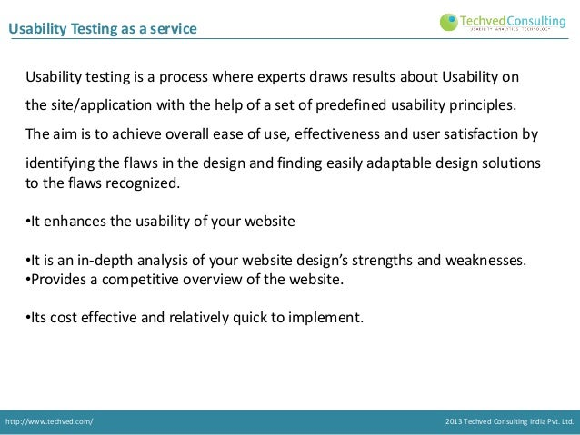 Usability Testing as a service Usability testing is a process where experts draws results about Usability on the site/appl...