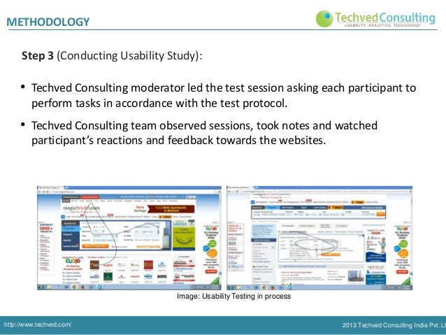 METHODOLOGY Step 3 (Conducting Usability Study):  • Techved Consulting moderator led the test session asking each particip...