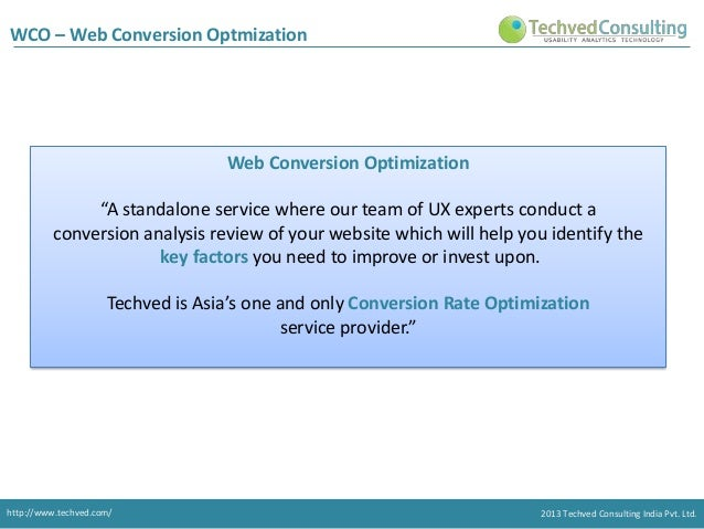 """WCO – Web Conversion Optmization  Web Conversion Optimization """"A standalone service where our team of UX experts conduct a..."""