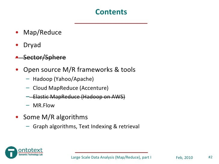Large Scale Data Analysis with Map/Reduce, part I Slide 2