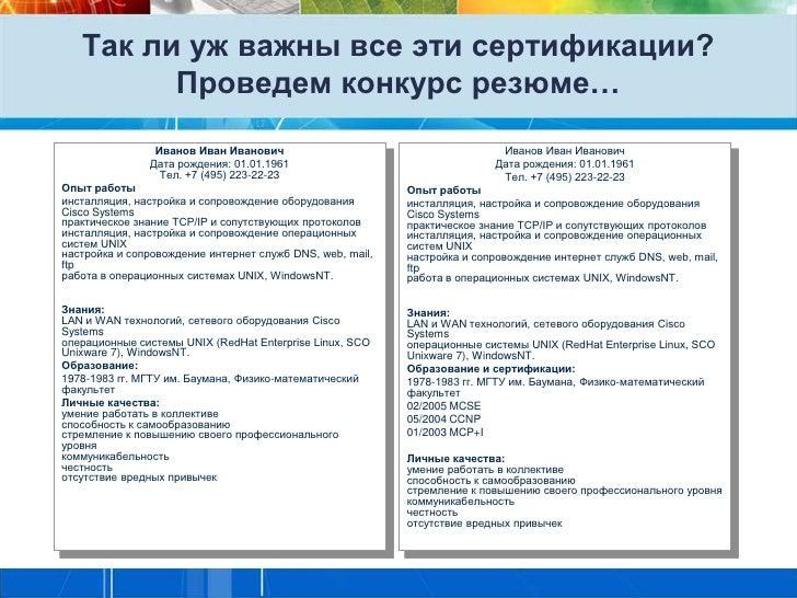 Так ли уж важны все эти сертификации?         Проведем конкурс резюме…                Иванов Иван Иванович                ...