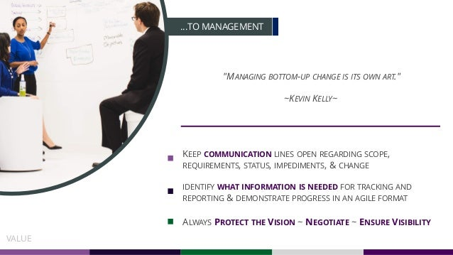"""…TO MANAGEMENT """"MANAGING BOTTOM-UP CHANGE IS ITS OWN ART."""" ~KEVIN KELLY~ KEEP COMMUNICATION LINES OPEN REGARDING SCOPE, RE..."""