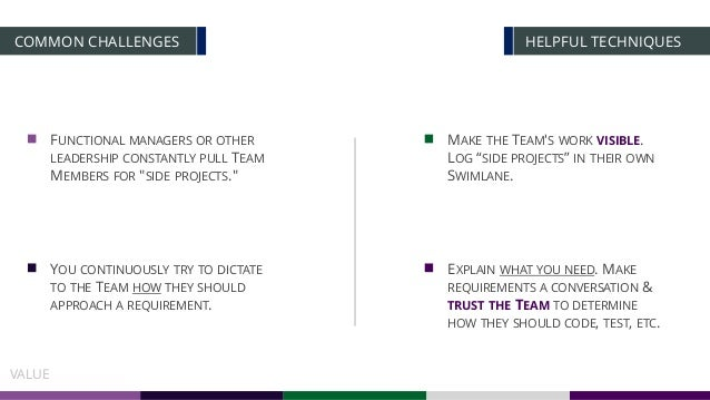 HELPFUL TECHNIQUESCOMMON CHALLENGES VALUE YOU CONTINUOUSLY TRY TO DICTATE TO THE TEAM HOW THEY SHOULD APPROACH A REQUIREME...