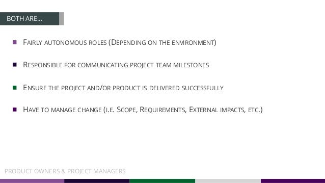 BOTH ARE… FAIRLY AUTONOMOUS ROLES (DEPENDING ON THE ENVIRONMENT) RESPONSIBLE FOR COMMUNICATING PROJECT TEAM MILESTONES ENS...