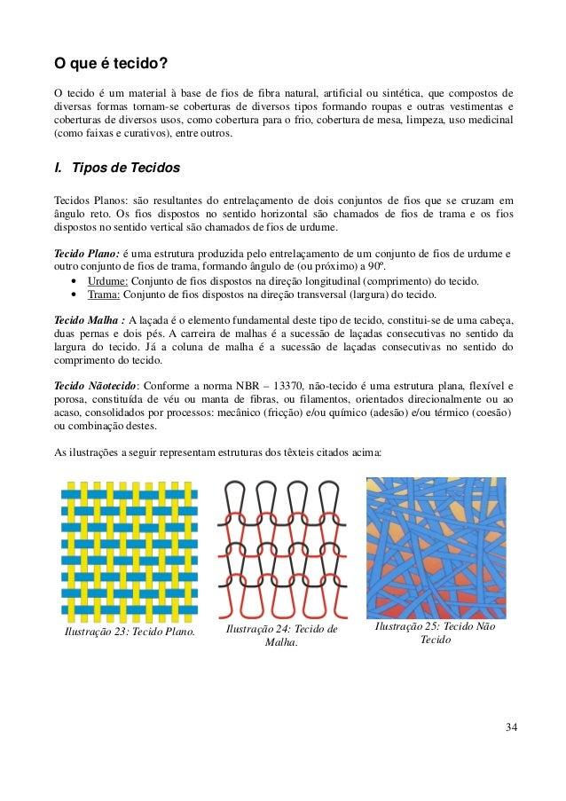 34  O que é tecido?  O tecido é um material à base de fios de fibra natural, artificial ou sintética, que compostos de  di...