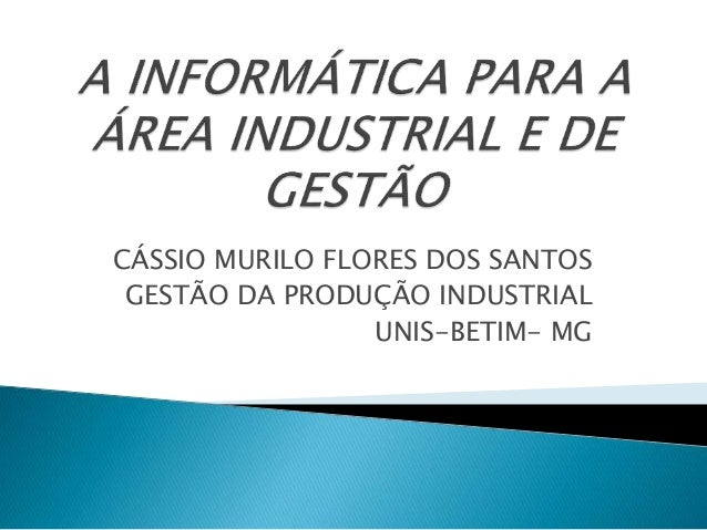 CÁSSIO MURILO FLORES DOS SANTOS GESTÃO DA PRODUÇÃO INDUSTRIAL UNIS-BETIM- MG