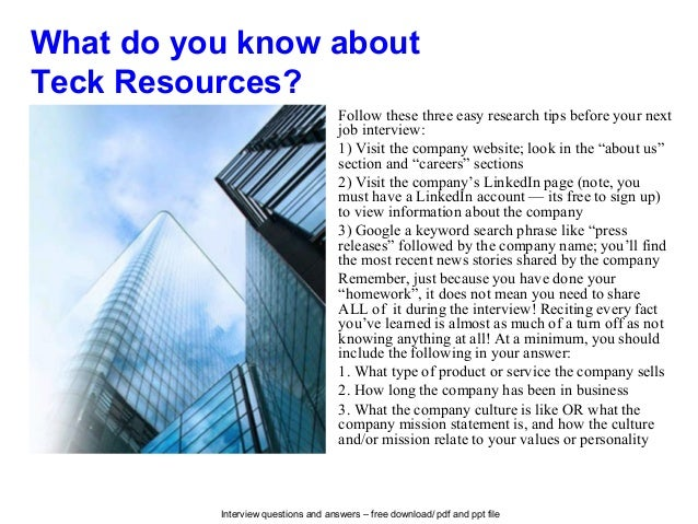 Teck resources interview questions and answers