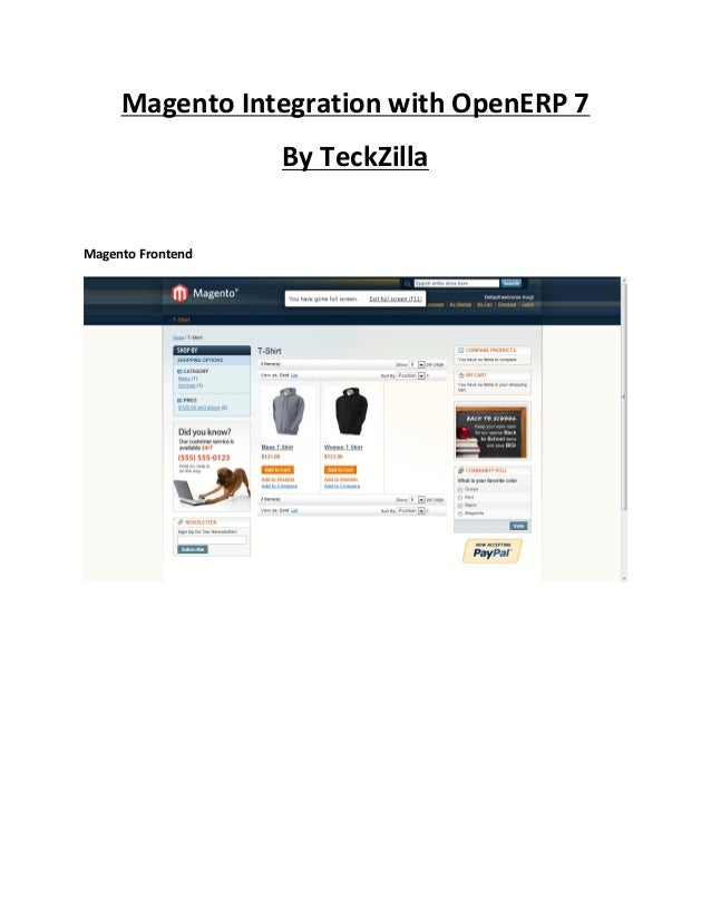 Magento Integration with OpenERP 7                   By TeckZillaMagento Frontend
